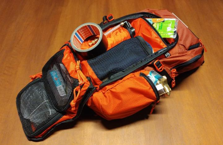 Backpack with tools and first aid