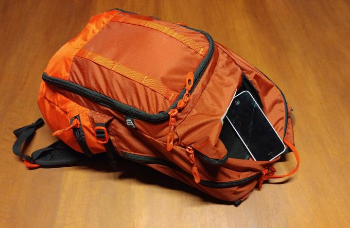 Backpack with smartphone